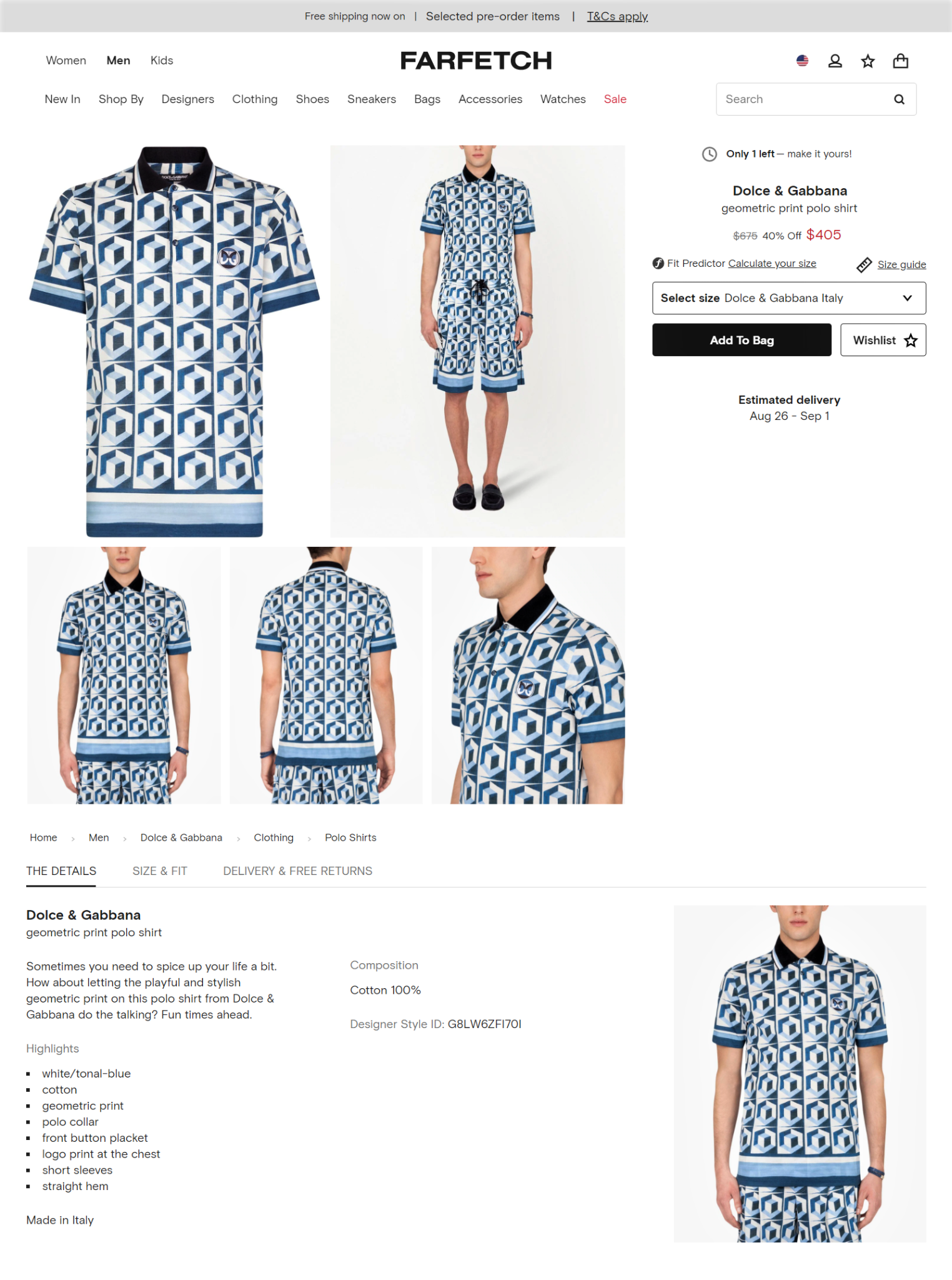Product page design example from Farfetch