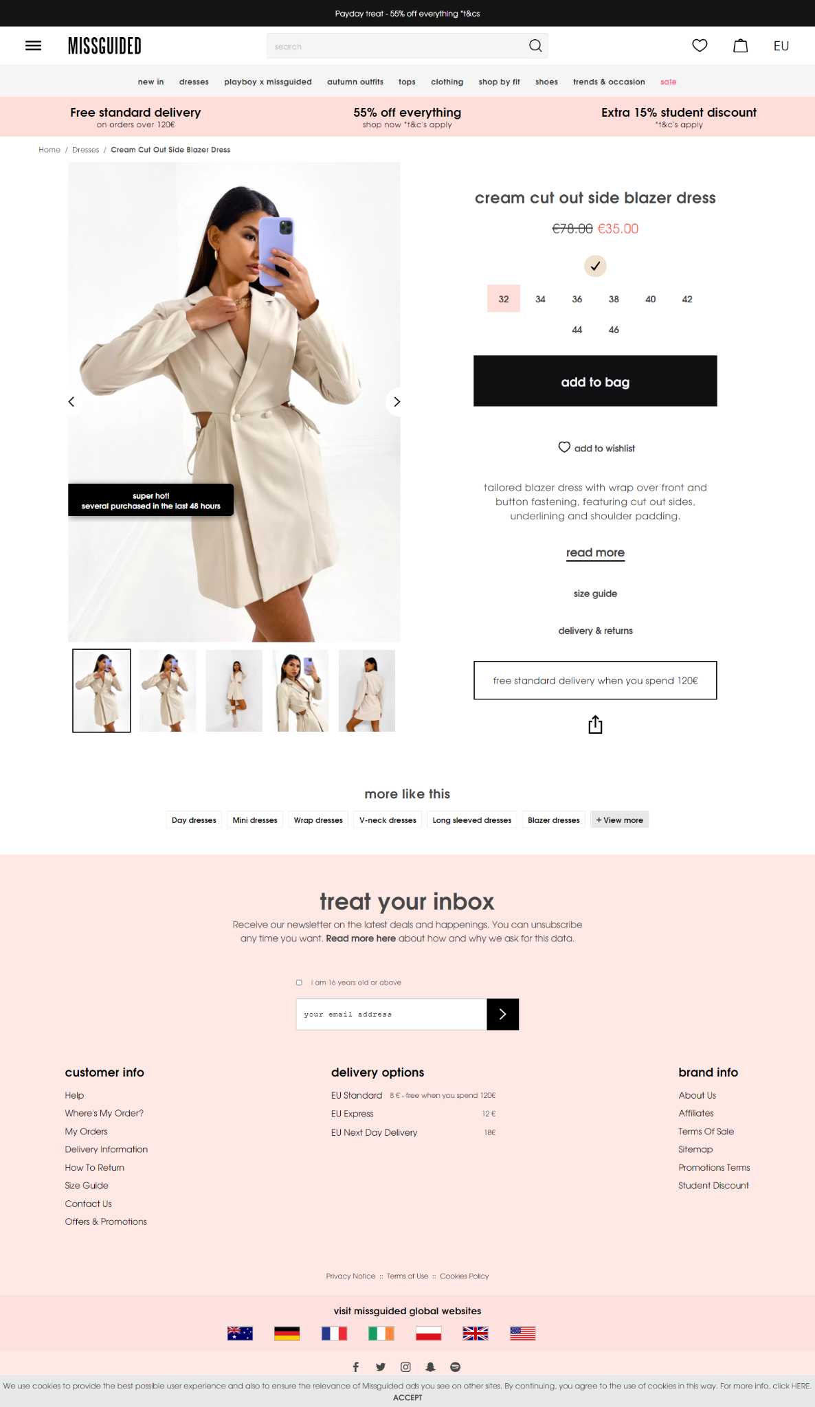 Missguided strategically places their content on the product page