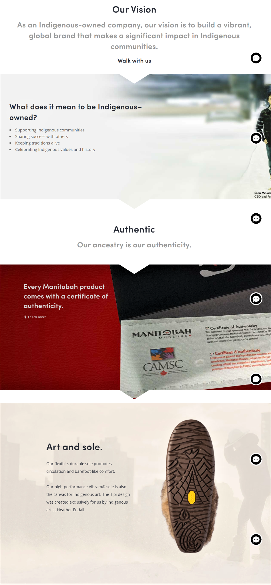 Authentic product page design example from Manitobah