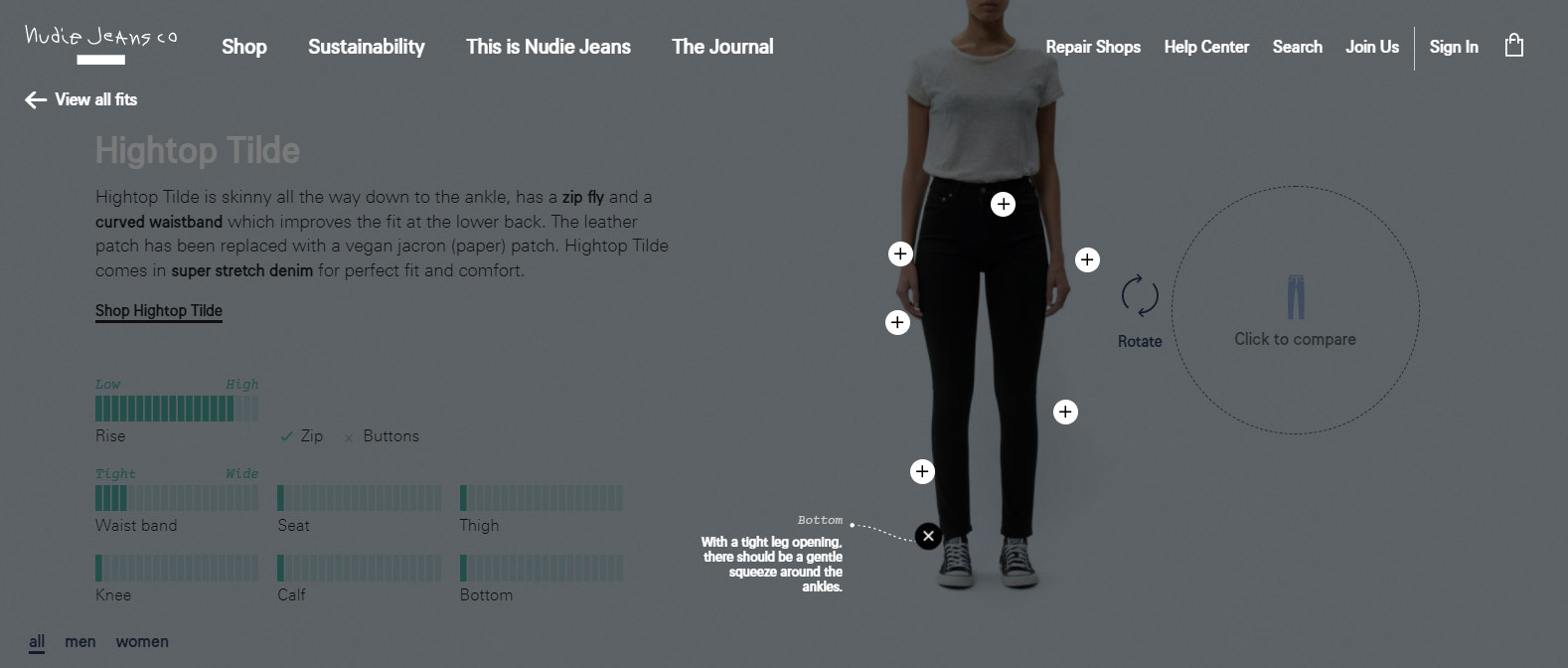 Nudie Jeans' product page uses VR