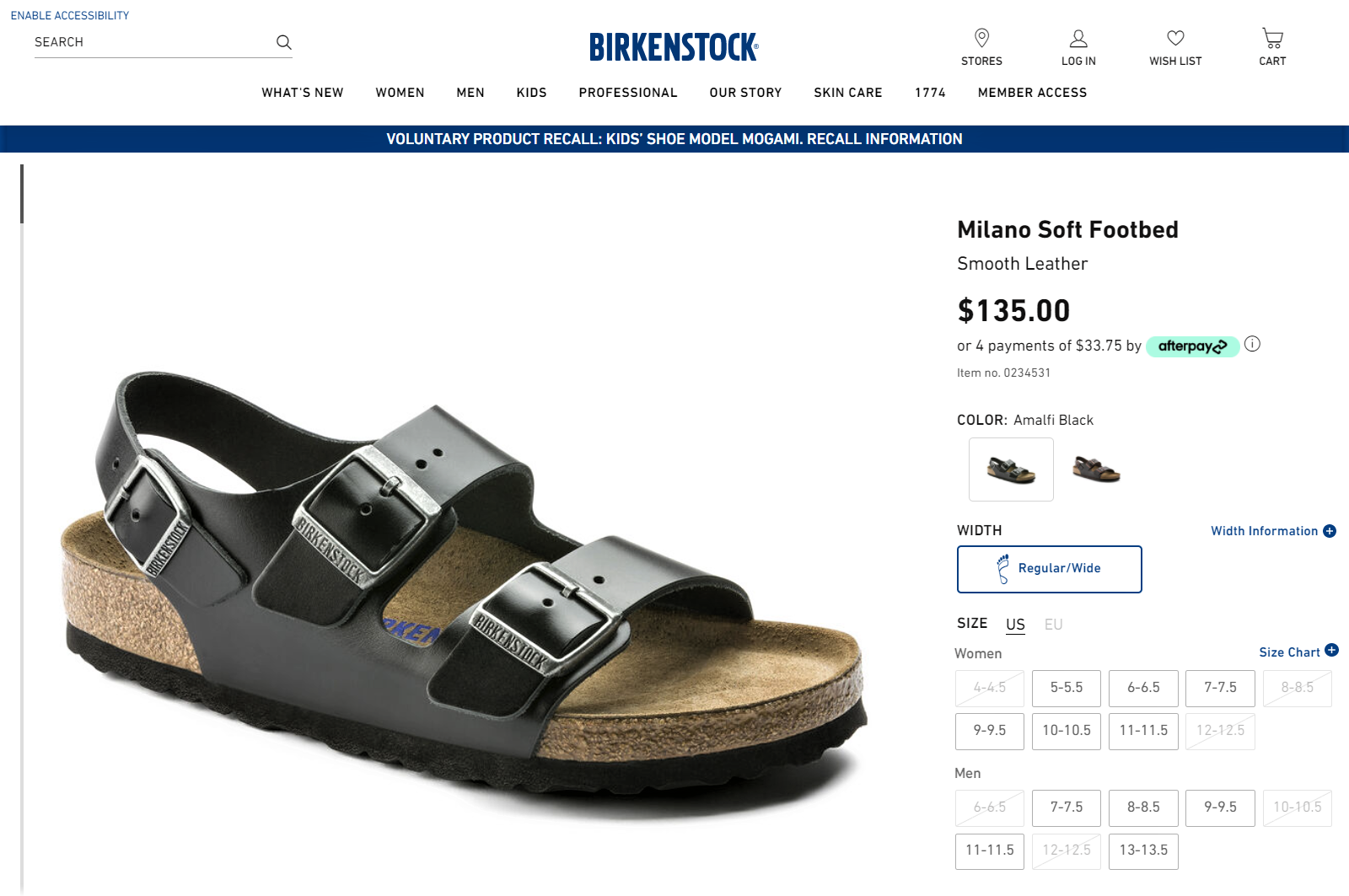 Birkenstock has strategic visuals for their product page