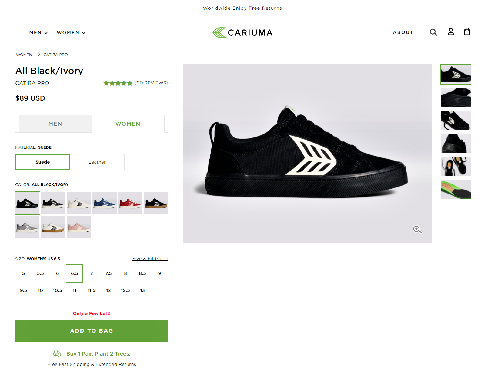 Cariuma offers cause marketing driven product page examples