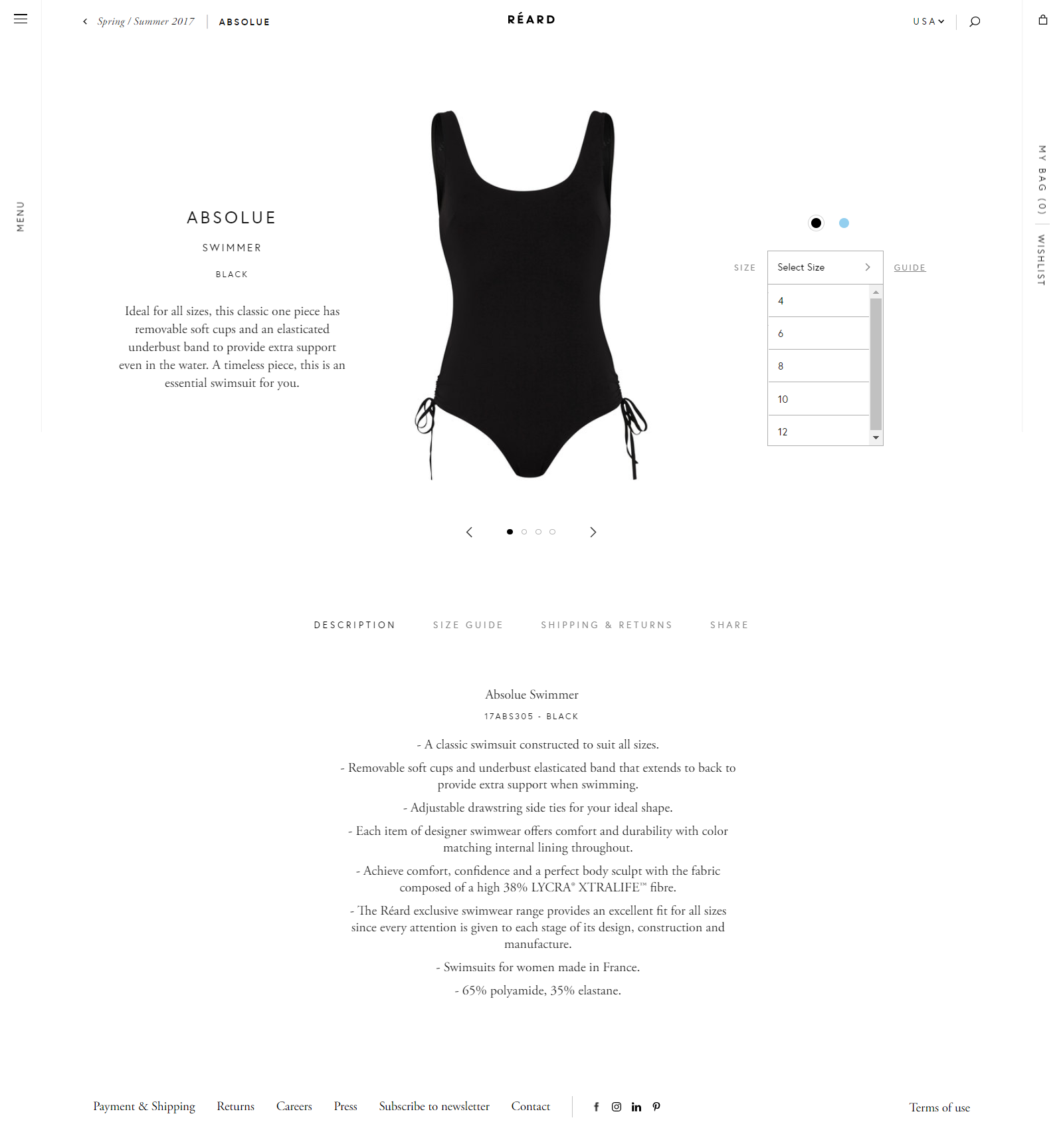Reard uses minimal design on product page template