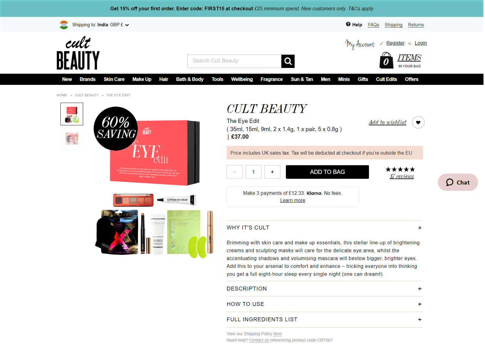 Cult Beauty practices transparency on their product page