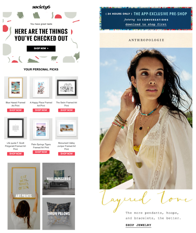 example of email personalization by Society6
