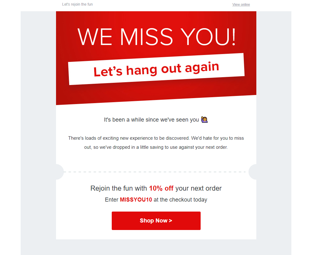 example of email personalization by Virgin