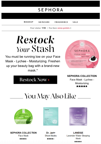 example of email personalization by Sephora