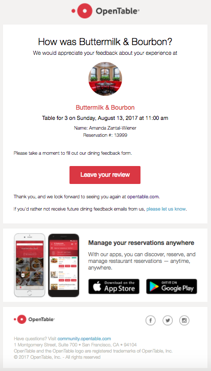 example of email personalization by OpenTable