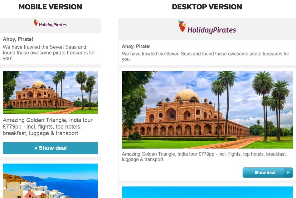 example of email personalization by Travel Pirates