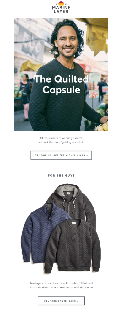 example of email personalization by Marine Layer