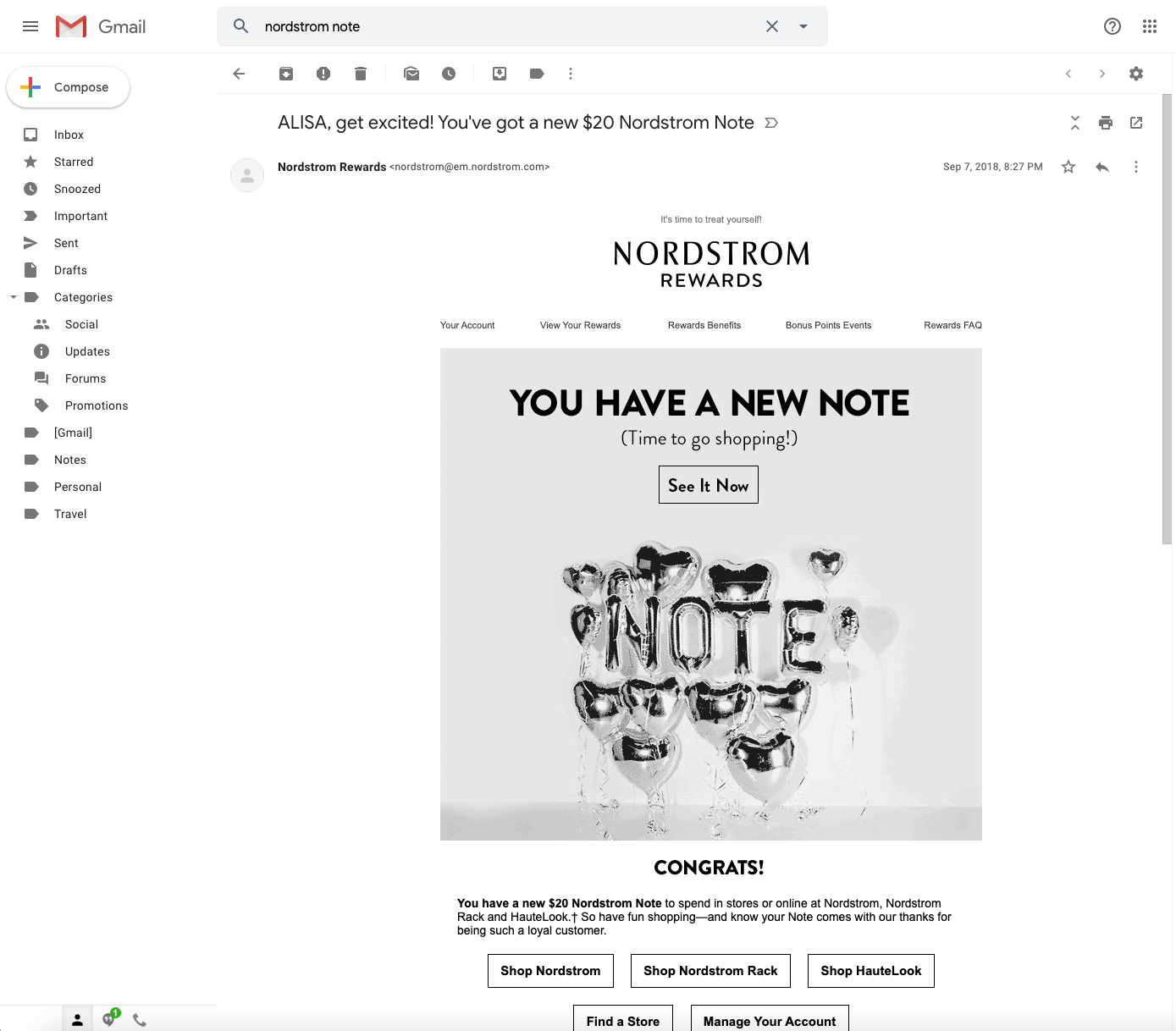 example of email personalization by Nordstrom