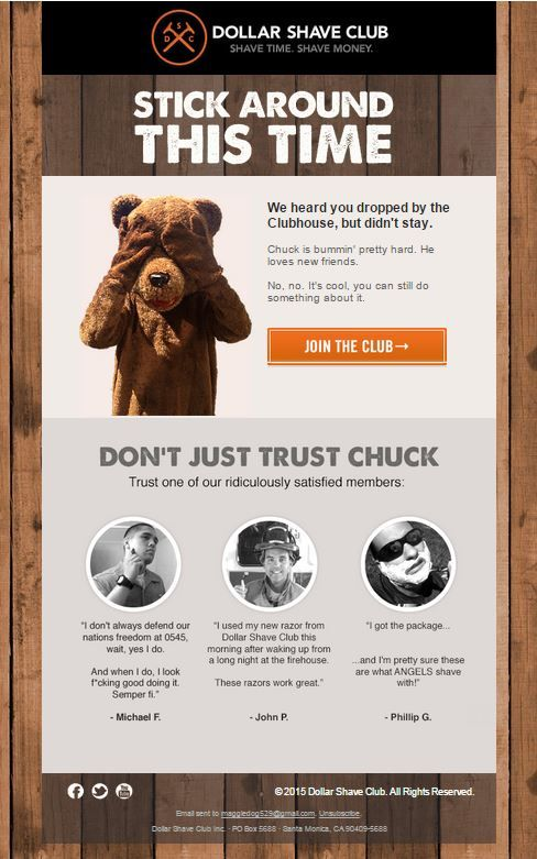 example of email personalization by Dollar Shave Club
