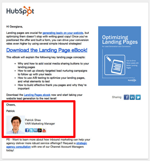 example of email personalization by HubSpot
