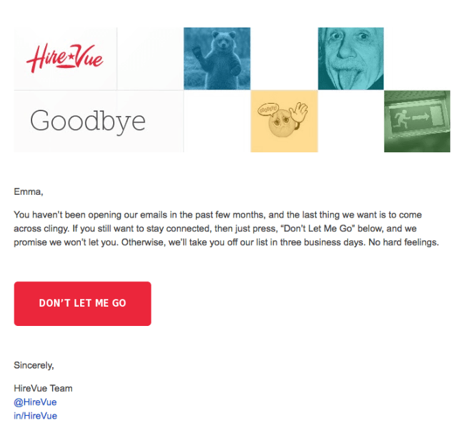 example of email personalization by HireVue