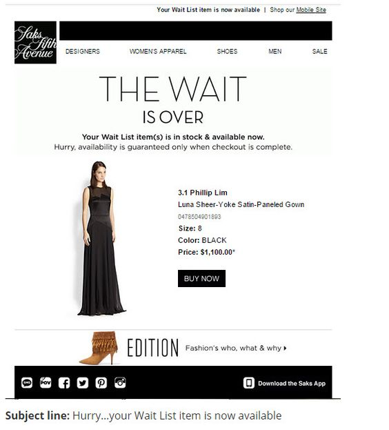 example of email personalization by Saks Fifth Avenue