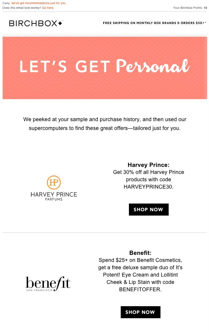 example of email personalization by Birchbox