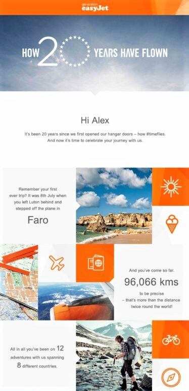 example of email personalization by easyJet