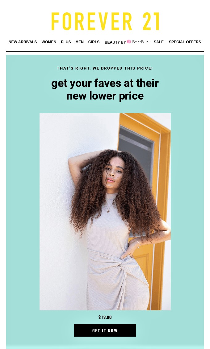 example of email personalization by Forever 21