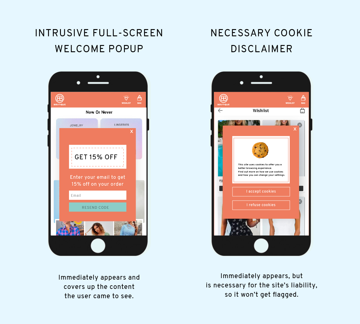 example of a non-intrusive mobile popup