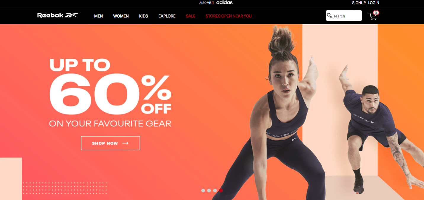 Example of a visual carousel banner from Reebok