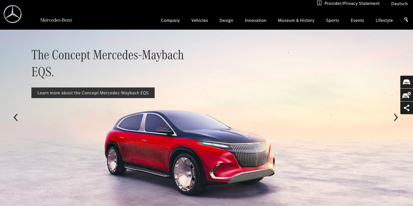 Example of how to use a carousel banner the right way by Mercedes Benz