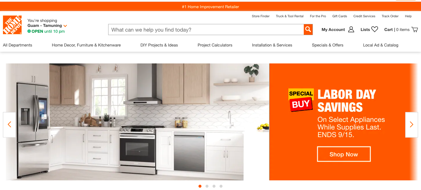 Example of manual control in carousel banners by Home Depot