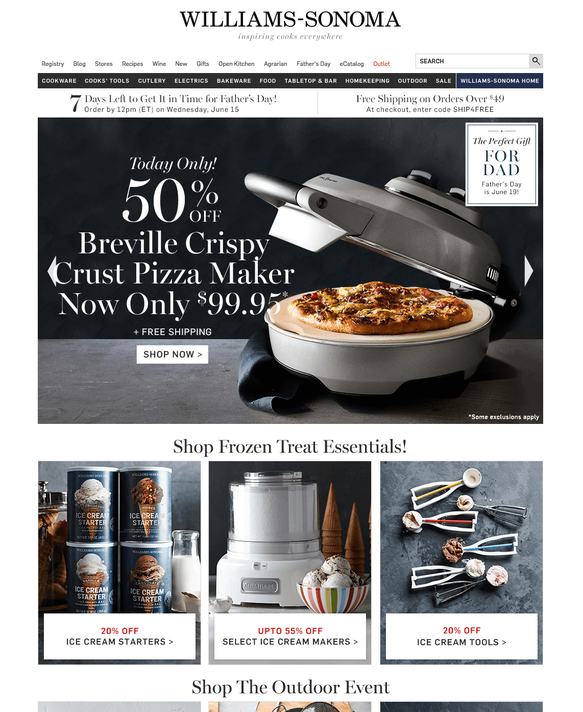 Example of cluttered text on carousel images by Williams-Sonoma