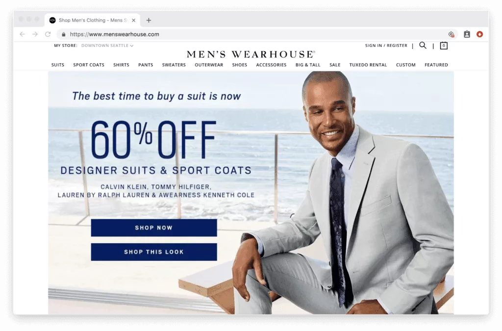 Example of promoting offers on the homepage instead of carousel banners