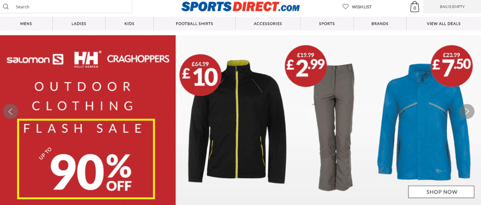 Example of hourly deals by SportsDirect.com for Black Friday