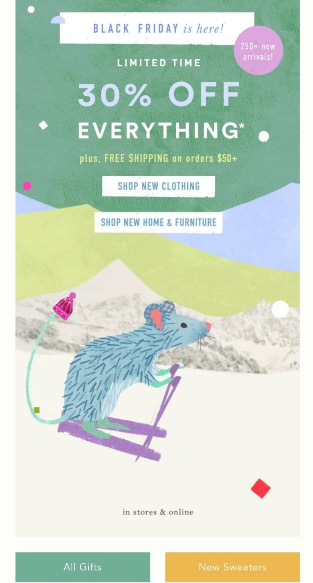 Example of conditional free shipping by Anthropologie for Black Friday