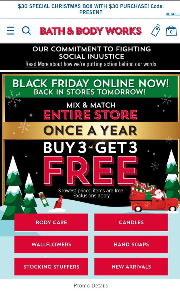 Example of offering mix and match product discounts by Bath and Body Works for Black Friday