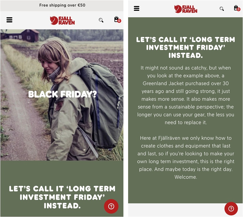 Example of showcasing brand values for Black Friday by Fjällräven
