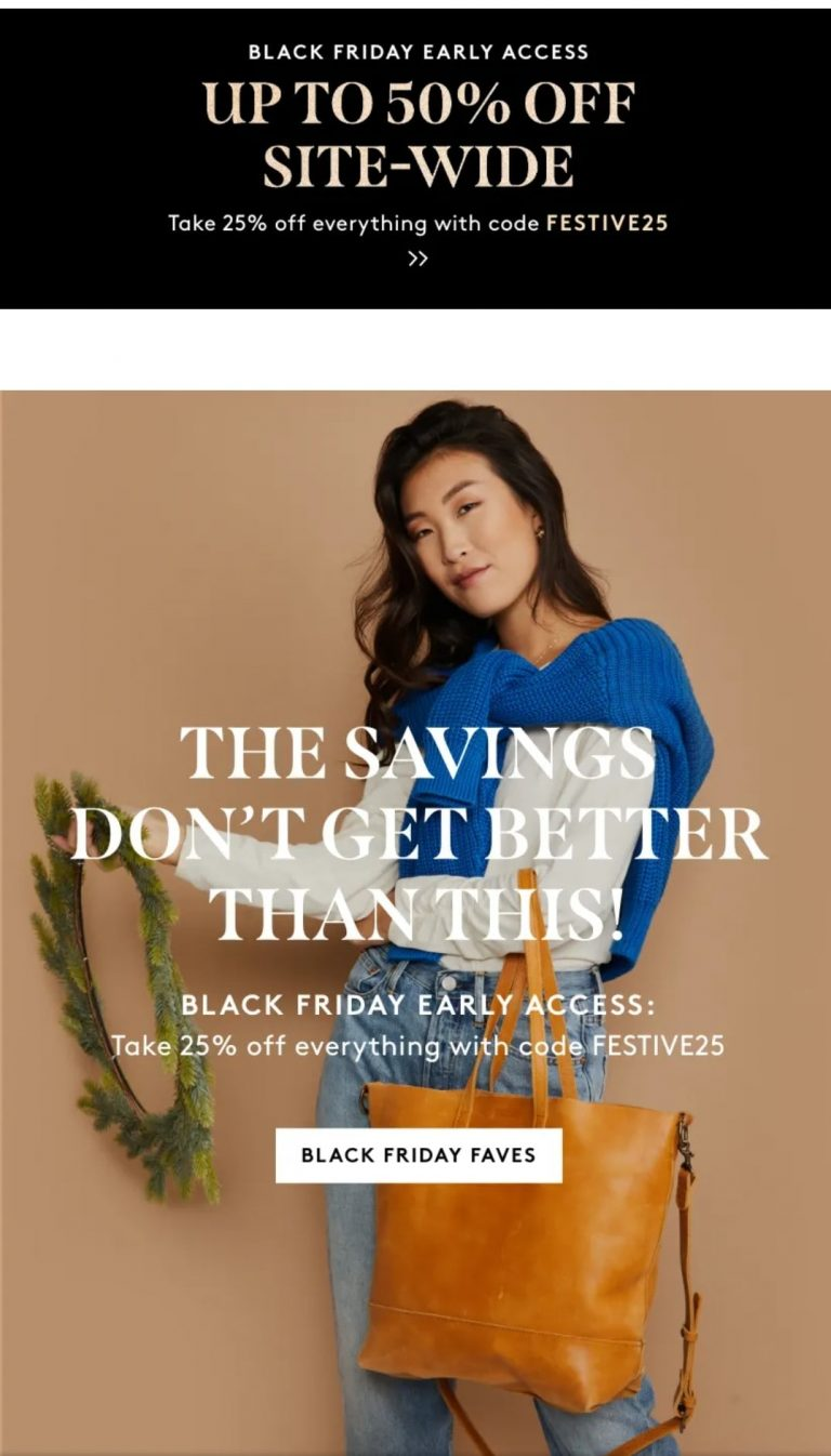 Example of sitewide discount by Able for Black Friday