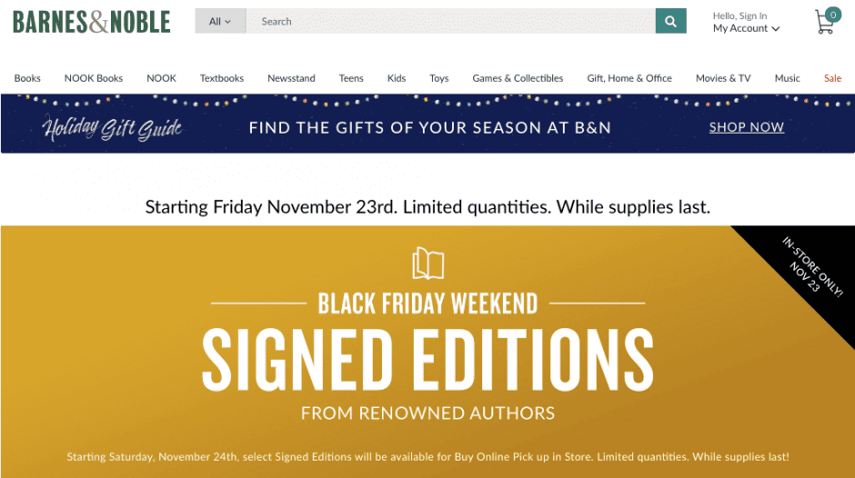 Example of discount alternatives for Black Friday by Barnes and Noble