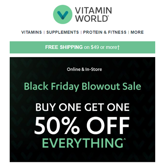 Example of BOGO offer for Black Friday by Vitamin World