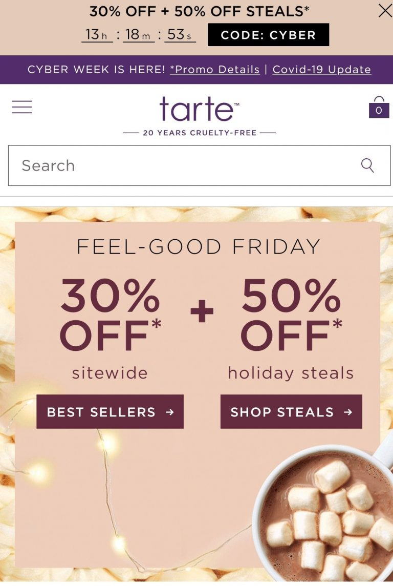 Example of creative themes for Black Friday by Tarte