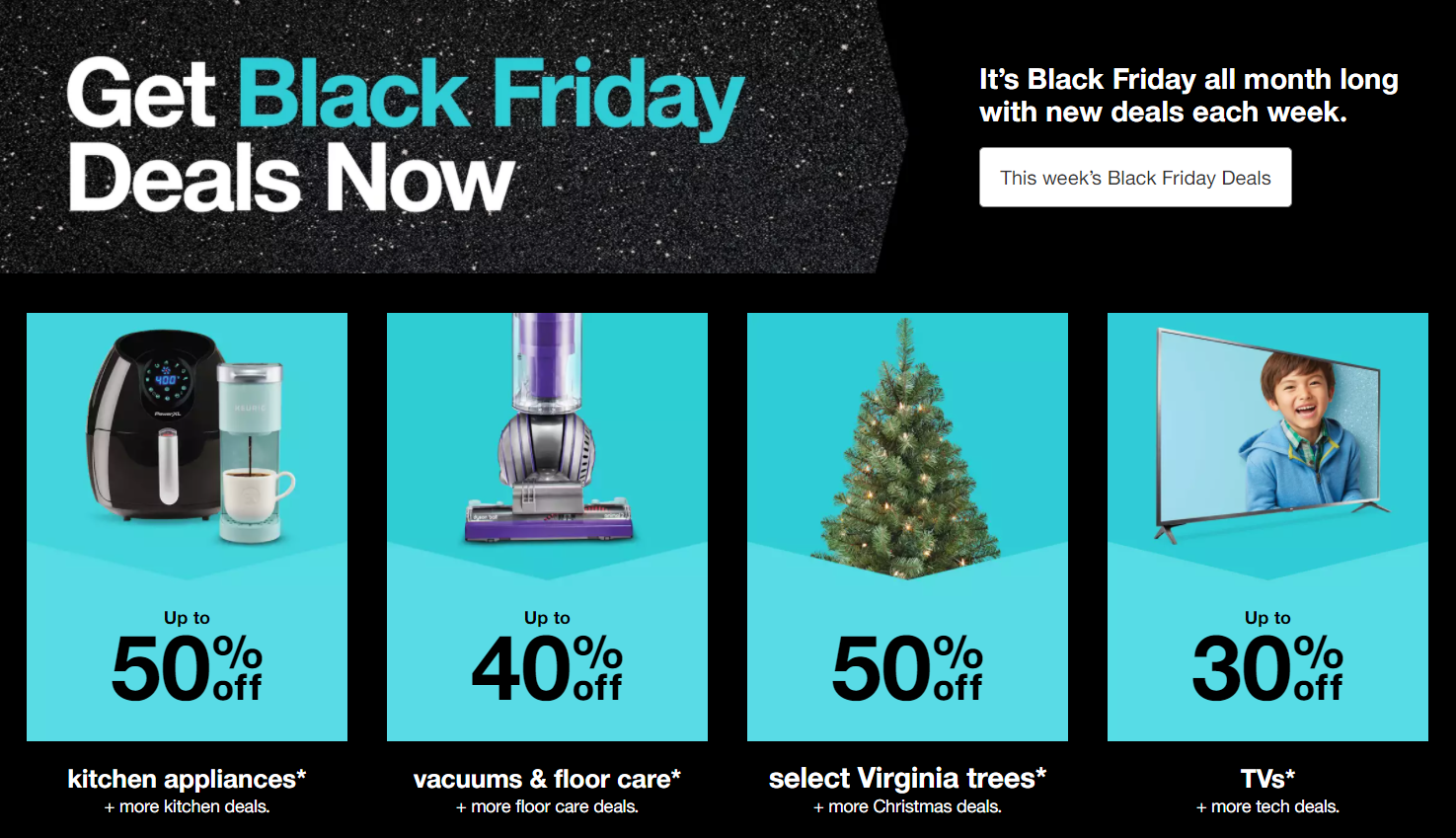 Example of category-specific offers for Black Friday by Target