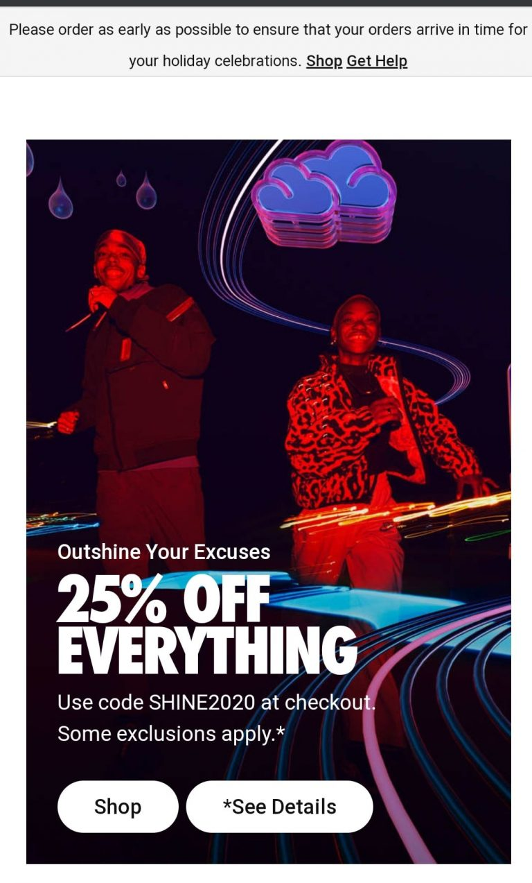 Example of checkout coupon for Black Friday by Nike