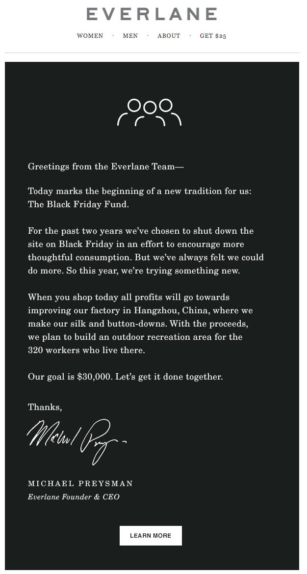 holiday marketing email example from Everlane
