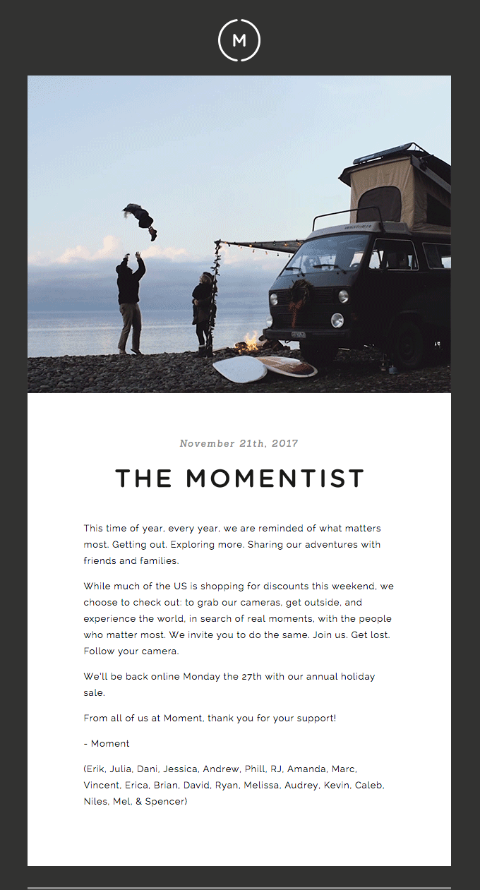 holiday marketing email example from Moment