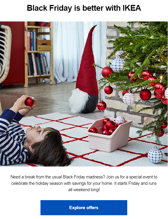holiday marketing email example from IKEA