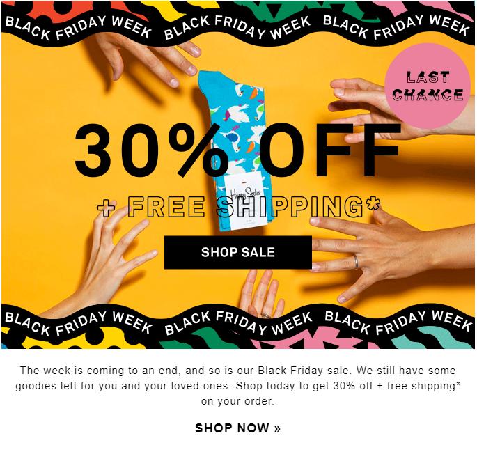 Black Friday email marketing by Happy Socks