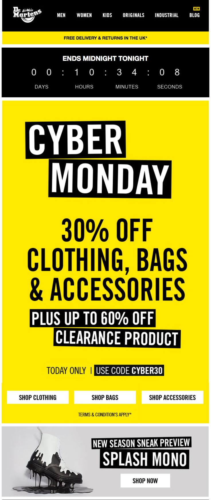 Black Friday email marketing by Dr. Martens