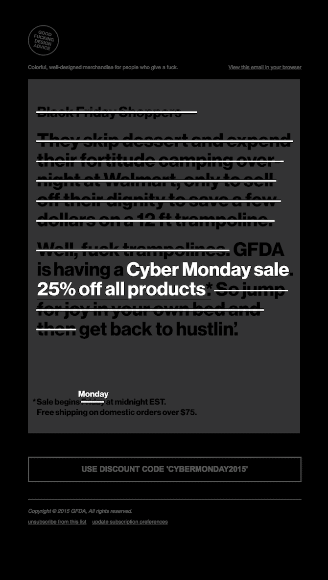Cyber Monday email example by GFDA