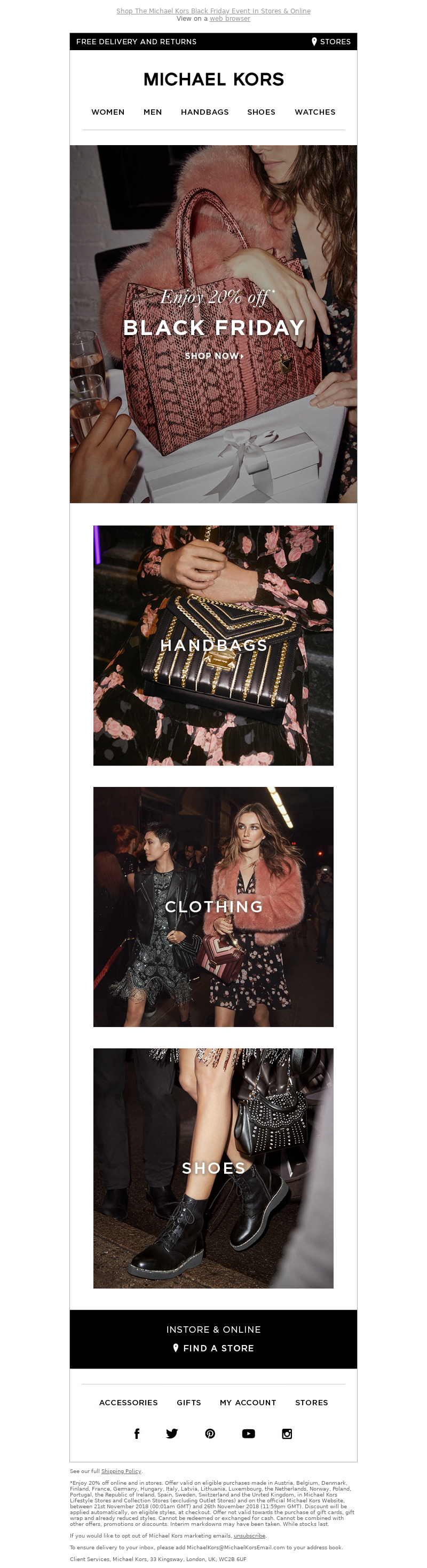 Black Friday email marketing by Michael Kors