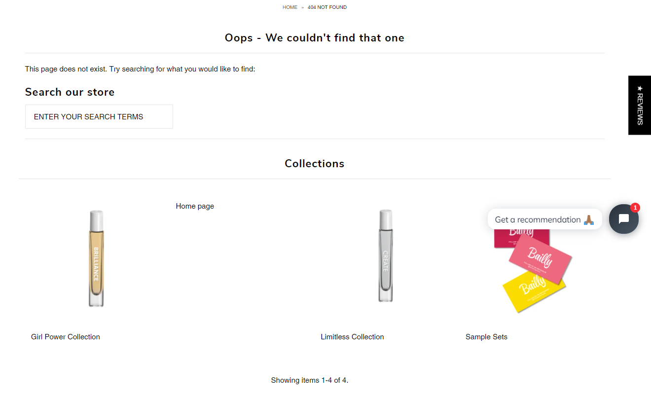Cross-selling on 404 pages is an example of good product page UX