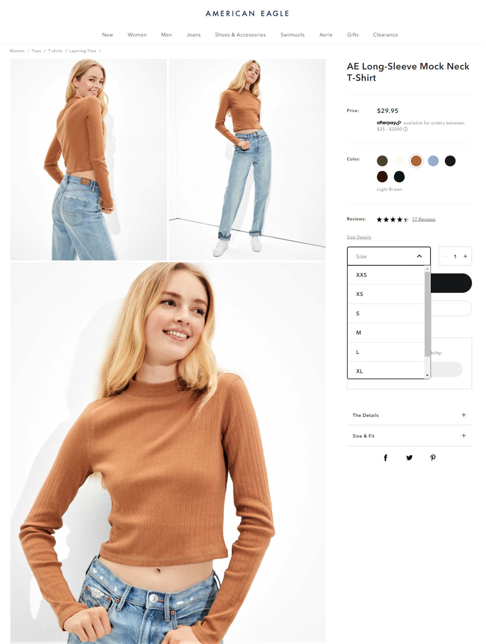Example of color and size charts for improving product page UX by American Eagle