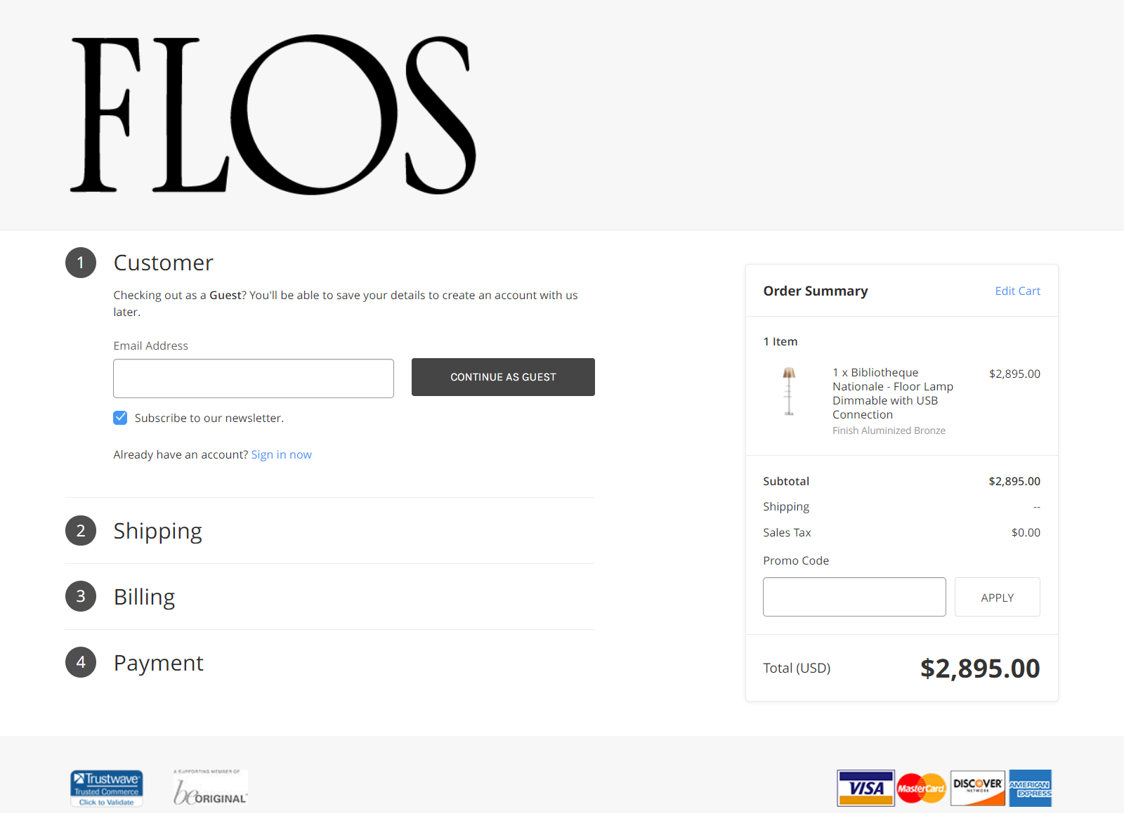 Example of checkout page sign in by Flos