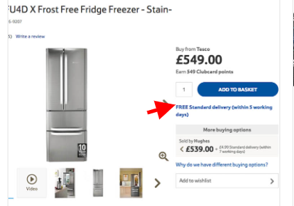 Example of adding free shipping near to CTA for better product page UX