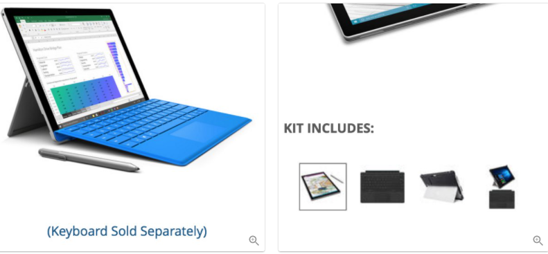 Example of showing accessories to improve product page UX